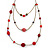 Retro Style Layered Pink/ Red Cotton, Acrylic Bead Necklace In Bronze Tone Metal - 74cm L - view 3