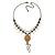 Vintage Inspired Caramel/ Green Enamel Floral Pendant with Bronze Tone Chain Necklace - 40cm L/ 8cm Ext/ 8cm Front Drop - view 5