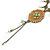 Vintage Inspired Caramel/ Green Enamel Floral Pendant with Bronze Tone Chain Necklace - 40cm L/ 8cm Ext/ 8cm Front Drop - view 6