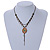 Vintage Inspired Caramel/ Green Enamel Floral Pendant with Bronze Tone Chain Necklace - 40cm L/ 8cm Ext/ 8cm Front Drop - view 2