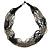 Multistrand Metallic Grey/ Black Glass Bead Necklace - 70cm L - view 3