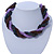 Pink, Cappuccino, Peacock Glass Bead Rope Style Choker Necklace - 36cm L - view 2