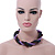 Pink, Cappuccino, Peacock Glass Bead Rope Style Choker Necklace - 36cm L - view 3