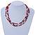 3 Strand Red, Black, White Ceramic & Glass Bead Necklace In Silver Tone - 46cm L - view 3