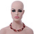 3 Strand Red, Black, White Ceramic & Glass Bead Necklace In Silver Tone - 46cm L - view 8