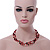 3 Strand Red, Black, White Ceramic & Glass Bead Necklace In Silver Tone - 46cm L - view 4