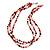3 Strand Red, Black, White Ceramic & Glass Bead Necklace In Silver Tone - 46cm L - view 2