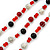 3 Strand Red, Black, White Ceramic & Glass Bead Necklace In Silver Tone - 46cm L - view 5