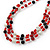 3 Strand Red, Black, White Ceramic & Glass Bead Necklace In Silver Tone - 46cm L - view 7