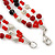 3 Strand Red, Black, White Ceramic & Glass Bead Necklace In Silver Tone - 46cm L - view 6