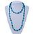 Long Green Wood Bead & Light Blue Bone Ring Necklace - 114cm L - view 2