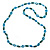 Long Green Wood Bead & Light Blue Bone Ring Necklace - 114cm L - view 5