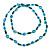 Long Green Wood Bead & Light Blue Bone Ring Necklace - 114cm L - view 6