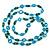 Long Green Wood Bead & Light Blue Bone Ring Necklace - 114cm L - view 3