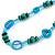 Long Green Wood Bead & Light Blue Bone Ring Necklace - 114cm L - view 4
