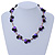 Black Ceramic, Magenta Shell Cluster Bead Necklace In Silver Tone - 46cm L/ 4cm Ext - view 2
