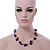 Black Ceramic, Magenta Shell Cluster Bead Necklace In Silver Tone - 46cm L/ 4cm Ext - view 3