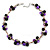 Black Ceramic, Magenta Shell Cluster Bead Necklace In Silver Tone - 46cm L/ 4cm Ext - view 6