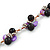 Black Ceramic, Magenta Shell Cluster Bead Necklace In Silver Tone - 46cm L/ 4cm Ext - view 4