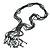 Black, Grey Glass Bead Tassel Necklace - 64cm L/ Tassel - 15cm L