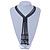 Black, Grey Glass Bead Tassel Necklace - 64cm L/ Tassel - 15cm L - view 3