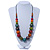 Multicoloured Wood Bead Black Waxed Cotton Cord Necklace - 68m L - view 4