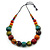 Multicoloured Wood Bead Black Waxed Cotton Cord Necklace - 68m L