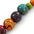 Multicoloured Wood Bead Black Waxed Cotton Cord Necklace - 68m L - view 5