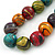 Multicoloured Wood Bead Black Waxed Cotton Cord Necklace - 68m L - view 2