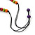 Multicoloured Wood Bead Black Waxed Cotton Cord Necklace - 68m L - view 6