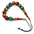 Multicoloured Wood Bead Black Waxed Cotton Cord Necklace - 68m L - view 7