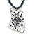Large Wired Square Pendant With Chunky Twitsted Glass Bead Chain (Hematite Tone) - 46cm L