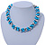 Light Blue & Silver Tone Acrylic Bead Cluster Choker Necklace - 38cm L/ 5cm Ex - view 1