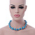 Light Blue & Silver Tone Acrylic Bead Cluster Choker Necklace - 38cm L/ 5cm Ex - view 4