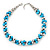Light Blue & Silver Tone Acrylic Bead Cluster Choker Necklace - 38cm L/ 5cm Ex - view 3