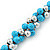 Light Blue & Silver Tone Acrylic Bead Cluster Choker Necklace - 38cm L/ 5cm Ex - view 6