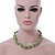 Lime Green & Silver Tone Acrylic Bead Cluster Choker Necklace - 38cm L/ 5cm Ex - view 4