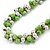 Lime Green & Silver Tone Acrylic Bead Cluster Choker Necklace - 38cm L/ 5cm Ex - view 5