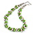 Lime Green & Silver Tone Acrylic Bead Cluster Choker Necklace - 38cm L/ 5cm Ex - view 3