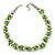 Lime Green & Silver Tone Acrylic Bead Cluster Choker Necklace - 38cm L/ 5cm Ex - view 2