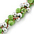 Lime Green & Silver Tone Acrylic Bead Cluster Choker Necklace - 38cm L/ 5cm Ex - view 6