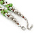 Lime Green & Silver Tone Acrylic Bead Cluster Choker Necklace - 38cm L/ 5cm Ex - view 7
