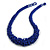 Chunky Inky Blue Glass Bead Necklace - 60cm L