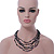 Multistrand, Layered Hematite Glass Bead, Shell Nugget Bead Necklace In Silver Tone - 56cm L - view 3