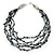 Multistrand, Layered Hematite Glass Bead, Shell Nugget Bead Necklace In Silver Tone - 56cm L - view 4