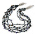 Multistrand, Layered Hematite Glass Bead, Shell Nugget Bead Necklace In Silver Tone - 56cm L - view 1