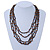 Multistrand, Layered Black Glass Bead, Brown Semiprecious Nugget Bead Necklace In Silver Tone - 60cm L - view 2