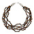 Multistrand, Layered Black Glass Bead, Brown Semiprecious Nugget Bead Necklace In Silver Tone - 60cm L - view 4