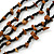 Multistrand, Layered Black Glass Bead, Brown Semiprecious Nugget Bead Necklace In Silver Tone - 60cm L - view 5