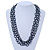 3 Strand Hematite Coloured Glass Bead Oval Link Necklace - 60cm Length - view 2